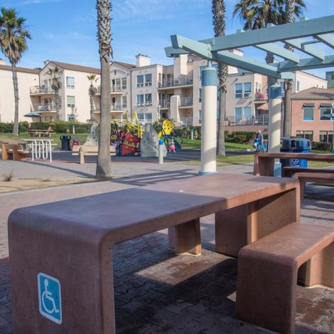 Accessible picnic table at Dunes Park at the Port of San Diego