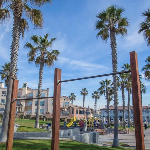 Hanging exercise bars at Dunes Park at the Port of San Diego
