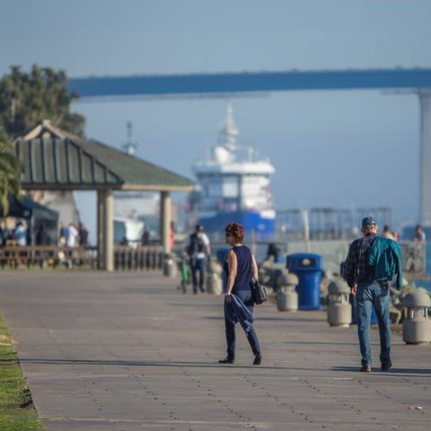People walking at Embarcadero Marina Park North at the Port of San Diego