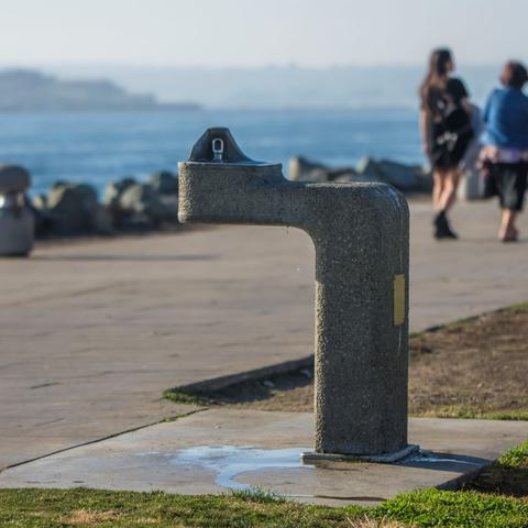 Drinking water fountain at Embarcadero Marina Park North at the Port of San Diego