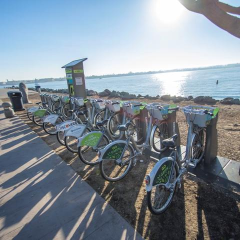 Rental bikes station at Embarcadero Marina Park North at the Port of San Diego