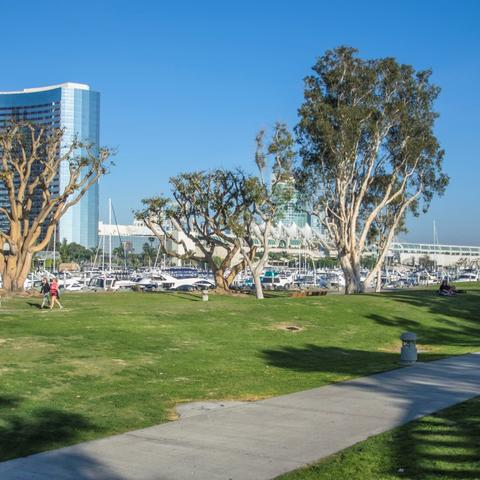 Boats, trees, grass, and path at Embarcadero Marina Park North at the Port of San Diego