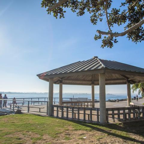 Gazebo and benches at Embarcadero Marina Park North at the Port of San Diego