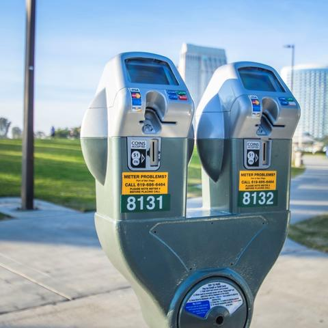 Parking meter accepts cards and coins at Embarcadero Marina Park South at the Port of San Diego