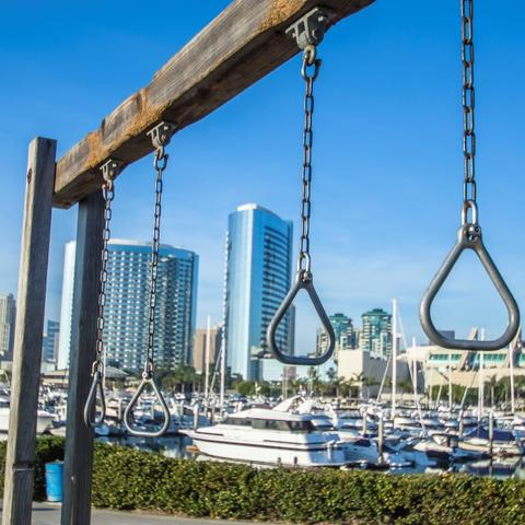 Gymnastic rings at exercise station at Embarcadero Marina Park South at the Port of San Diego