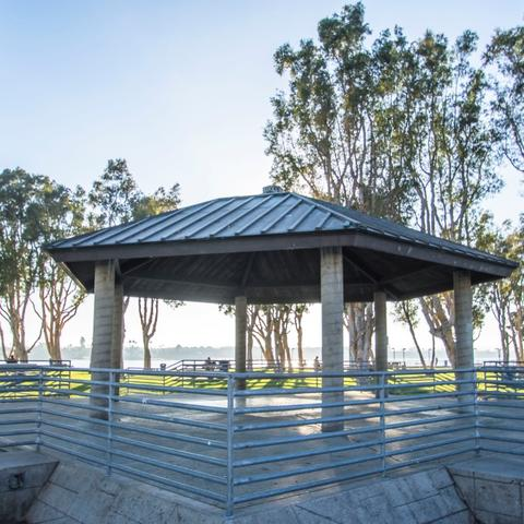 Gazebo and trees at Embarcadero Marina Park South at the Port of San Diego