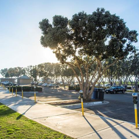 Parking Lot with meters at Embarcadero Marina Park South at the Port of San Diego
