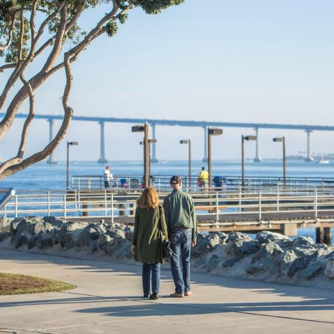 Couple looking at pier at Embarcadero Marina Park South at the Port of San Diego