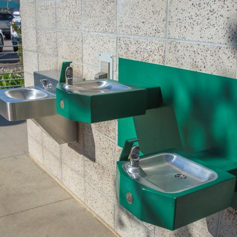 Green drinking water fountains at Lane Field Park at the Port of San Diego