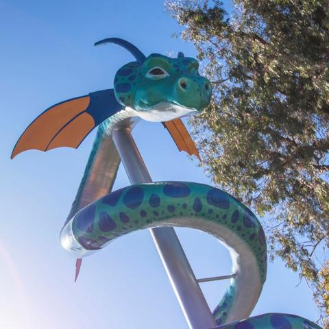 Sea Dragon urban tree sculpture by Deana Mando at Pepper Park at the Port of San Diego
