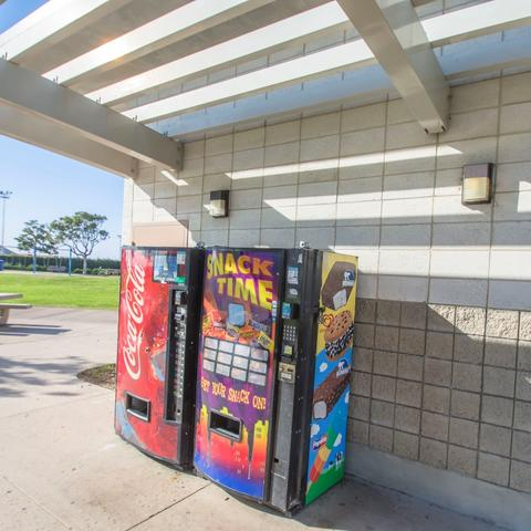 Vending machines for beverages and snacks outside the restroom at Pepper Park at the Port of San Diego