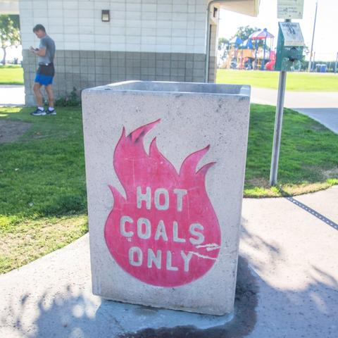 Hot coals disposal bin at Pepper Park at the Port of San Diego