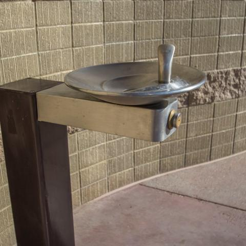 Drinking water fountain at Portwood Pier Plaza at the Port of San Diego