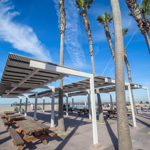 Picnic tables under awnings surrounded by palm trees at Portwood Pier Plaza at the Port of San Diego