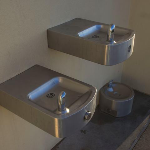 Three drinking water fountains, including one for pets, at Ruocco Park at the Port of San Diego