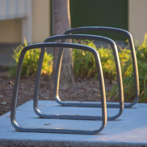 Three bike racks at Ruocco Park at the Port of San Diego