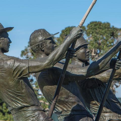 Tunaman's Memorial bronze sculpture by Franco Vianello at Shelter Island Shoreline Park at the Port of San Diego