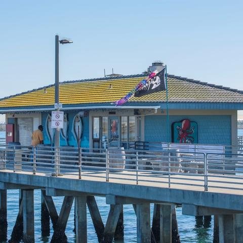 Fathom Bistro, Bait, and Tackle on the pier of Shelter Island Shoreline Park at the Port of San Diego
