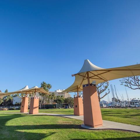 Pedestrian path and grass at Spanish Landing Park at the Port of San Diego