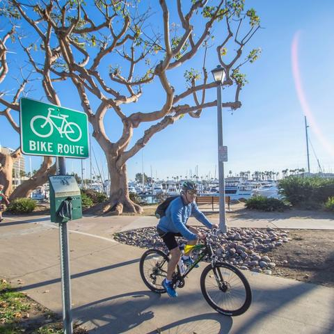 Cyclist biking on path at Spanish Landing Park at the Port of San Diego