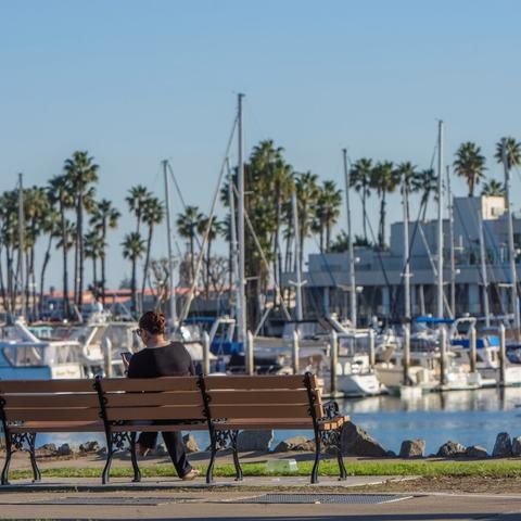 Woman sitting on bench overlooking the marina at Spanish Landing Park at the Port of San Diego