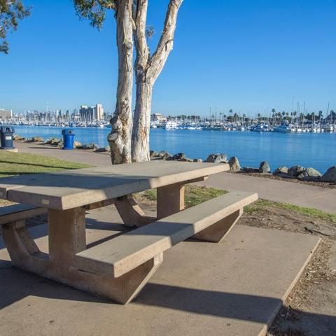 Picnic table overlooking the marina at Spanish Landing Park at the Port of San Diego