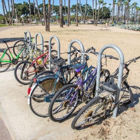 Bikes parked at bike rack at Coronado Tidelands Park at the Port of San Diego