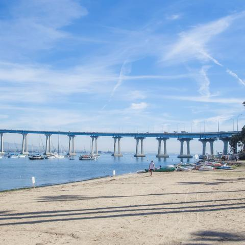 Sand beach with view of San Diego-Coronado Bay Bridge at Coronado Tidelands Park at the Port of San Diego
