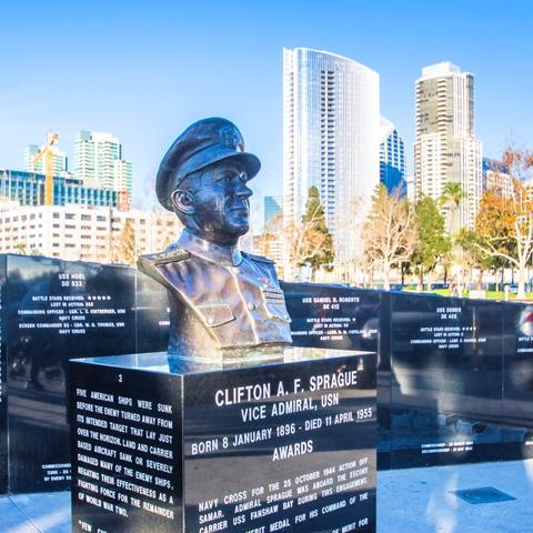Battle of Leyte Gulf Memorial by Kim Moon at Tuna Harbor Park at the Port of San Diego