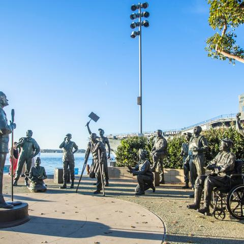 Salute to Bob Hope and Military bronze sculptures by Eugene Daub and Steven Whyte at Tuna Harbor Park at the Port of San Diego