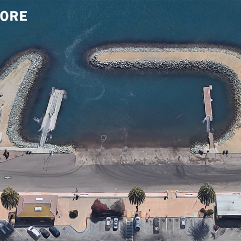 an aerial view of the Shelter island Boat Launch before construction