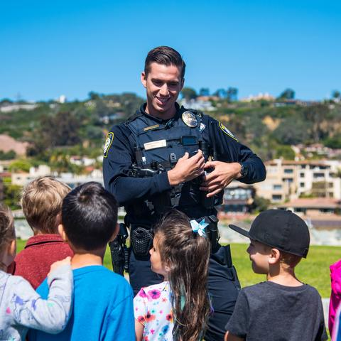 Port of San Diego Harbor Police Officer talking to kids